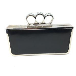 New BCBGMAXAZRIA Embellished Knuckle Black Clutch